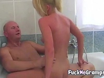 bathroom  blonde  fuck  grandpa  hottie  old and young